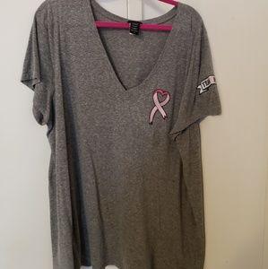 Breast Cancer Awareness Team Pink V-Neck Tee